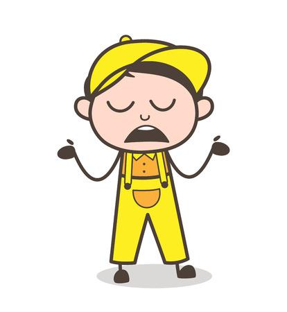unexpected: Cartoon Boy Unknown Behavior Vector Illustration Illustration