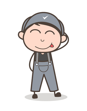 Cartoon Funny Shy Boy Face Vector Illustration