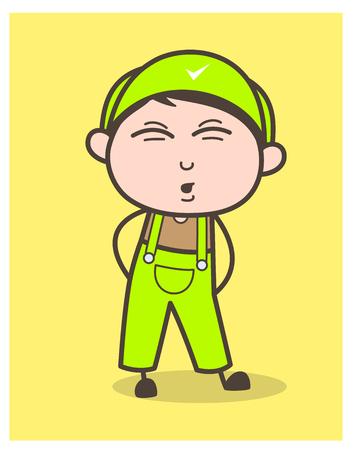 Cartoon Funny Service Boy Face Expression Vector Illustration