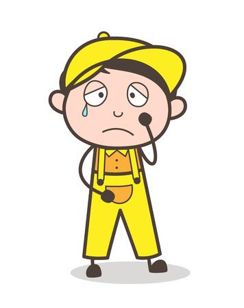flushed: Cartoon Crying Boy Face Vector Illustration