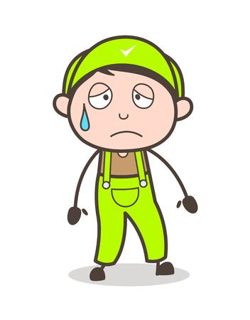 Cartoon Emotional Boy Expression Vector Illustration