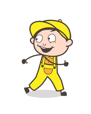 Cartoon Happy Boy on Morning Walk Vector Concept