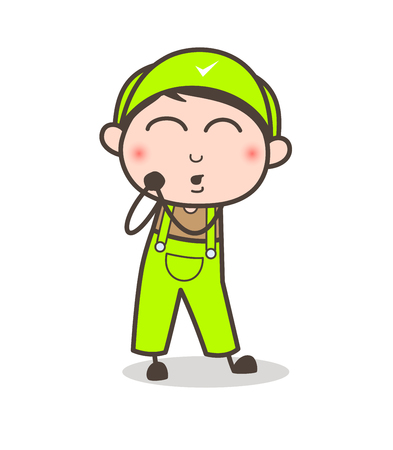 Cartoon Young Boy Feeling Very Lovely Vector Illustration Ilustração