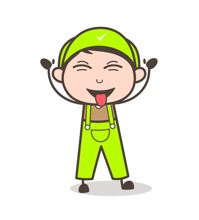 Cartoon Naughty Boy Face with Stuck-Out Tongue Vector Illustration