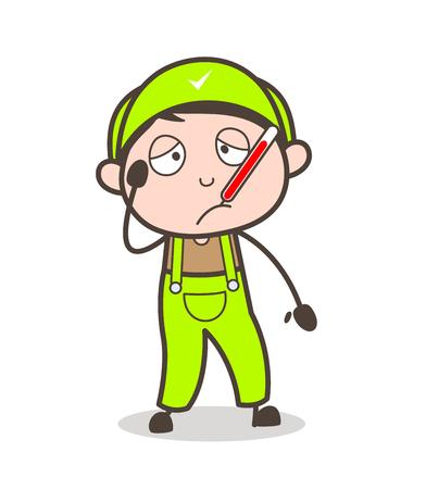 Dessin animé malade garçon avec thermomètre de la fièvre dans la bouche Vector Illustration Banque d'images - 83823257