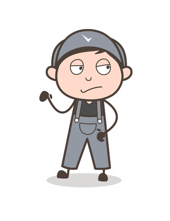 Cartoon Serviceman Disappointed Face Vector Illustration