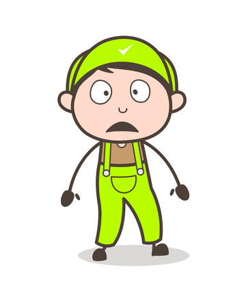Cartoon Young Employee Frowning Face Vector Illustration