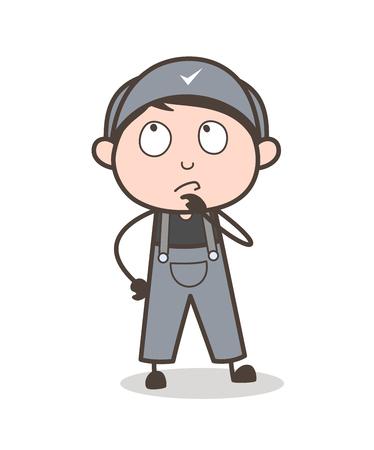 Cartoon Young Employee Thinking an Idea Vector Illustration Ilustração