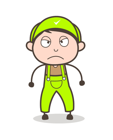 flushed: Cartoon Young Boy Worker Aggressive Expression Vector Illustration