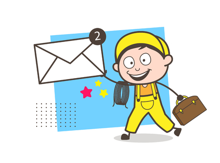 Cartoon Male Receptionist Calling with Customer on Phone Vector Illustration