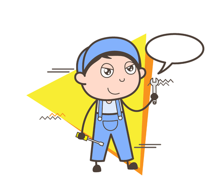 Cartoon Worker Talking on Phone Vector Illustration Illustration