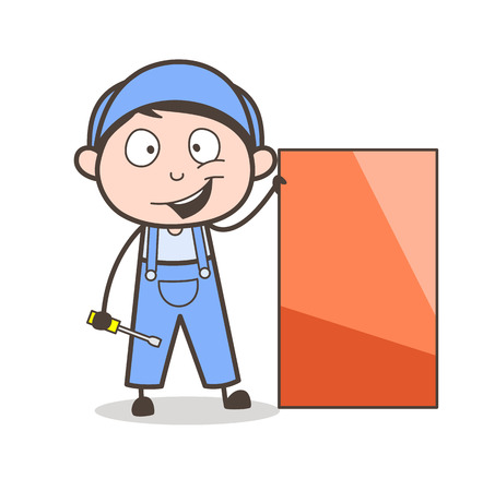 Cartoon Happy Serviceman with Tools Vector Illustration