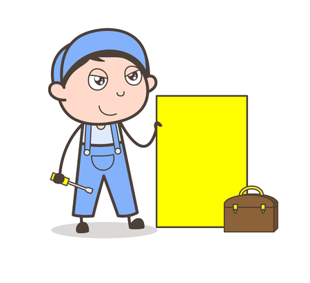 Cartoon Workers with Adjustment Tools Vector Illustration