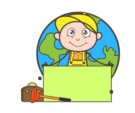 Cartoon Happy Young Worker Boy Expression Vector Illustration
