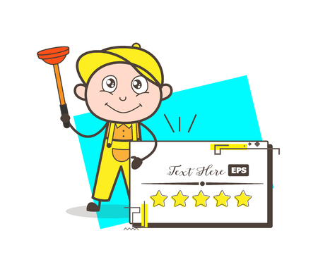 toilet: Cartoon Plumber with Plunger Cleaning Bathroom Vector Illustration