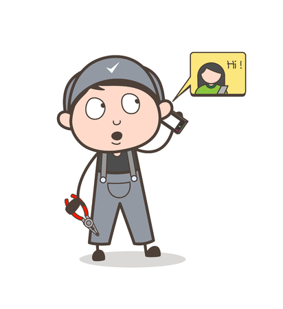 Cartoon Mechanic with Hot Tea Vector Illustration Illustration