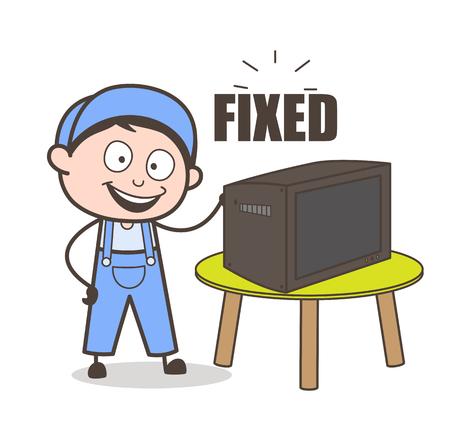 Cartoon Electrician Happy After Repair TV Vector Concept