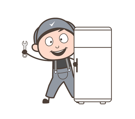 Cartoon Electrician Repairing Refrigerator Vector Concept Ilustração