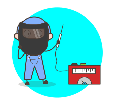 Cartoon Welder with Welding Equipments Vector