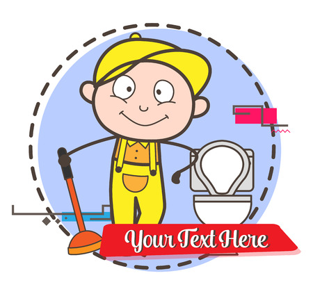 Cartoon Worker with Plunger and Toilet Seat Vector Illustration Illustration