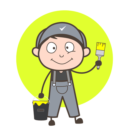 whitewash: Cartoon Painter with Brushed and Paint Bucket Vector Illustration
