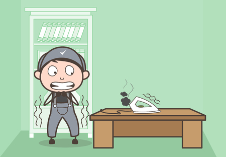 Cartoon Scared Boy After See Heated Iron Vector Illustration