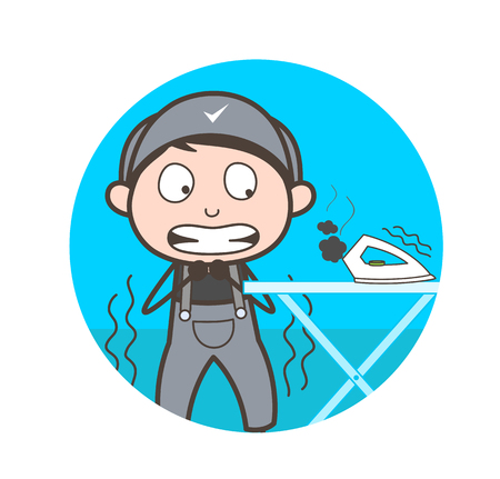 Cartoon Scared Worker After Done Mistake Vector Illustration
