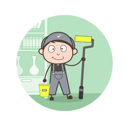 whitewash: Cartoon Painter with Whitewash Equipments Vector Illustration