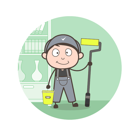 Cartoon Painter with Whitewash Equipments Vector Illustration