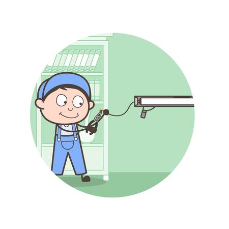 Cartoon Electrician Repairing Light Vector