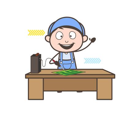 Cartoon Happy Electrician Repairing Circuit Board Vector