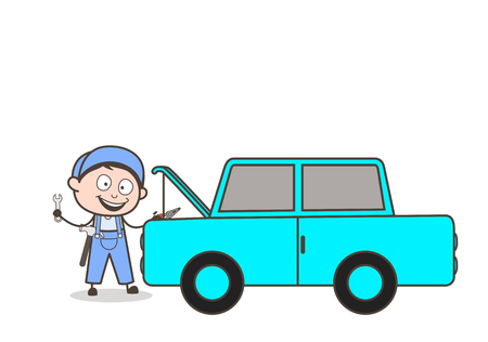Cartoon Mechanic Repairing Car Vector Concept Illustration