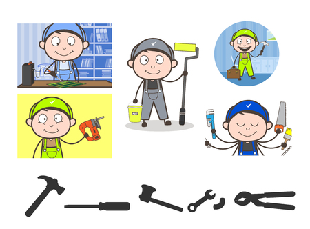 Cartoon Mechanics with Different Professions Vector Concepts