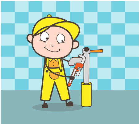 Cartoon Plumber Repairing Water Hydrant Vector Concept