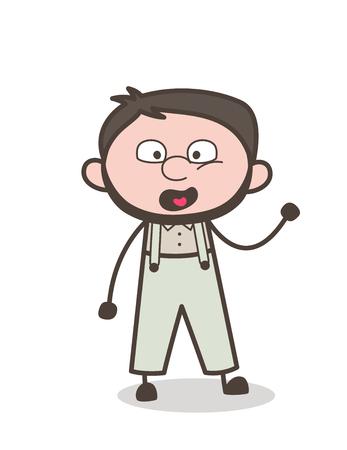 venganza: Cartoon Shouting Man Expression Vector Illustration Vectores