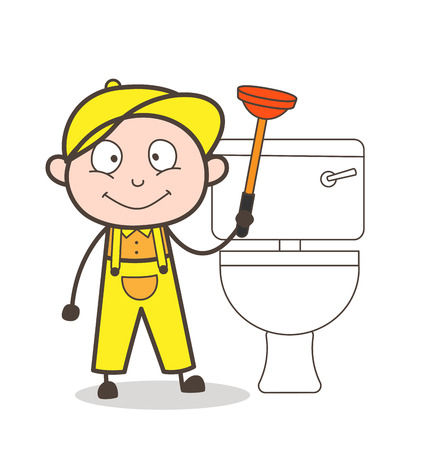 toilet: Cartoon Plumber Cleaning Toilet Seat Vector Illustration