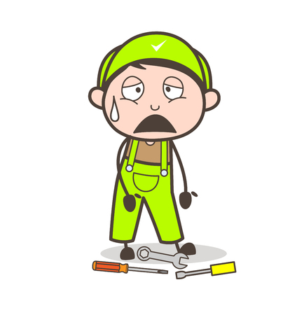 Cartoon Frustrated Worker Expression Vector Illustration