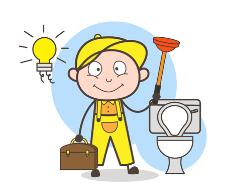 Cartoon Plumber with Plunger Cleaning Bathroom Vector Illustration