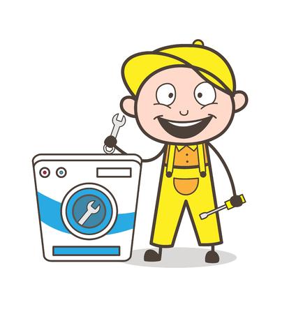 Cartoon Repairman Going to Repair Washing Machine Vector