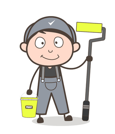 Cartoon Painter with Paint Bucket and Paint Roller Vector