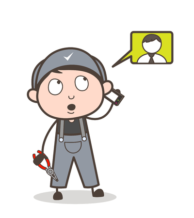 Cartoon Mechanic Dealing with Client on Phone Vector Illustration Illustration