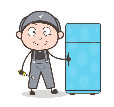 Cartoon Electrician with Refrigerator Vector Illustration Ilustração