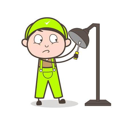Cartoon Electrician Repairing Lamp Vector Concept