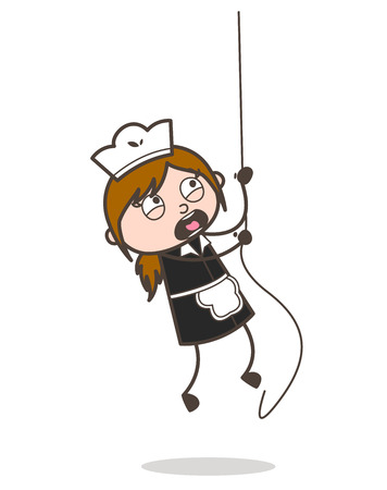Cartoon Adventurous Waitress Climbing Rope Vector Concept