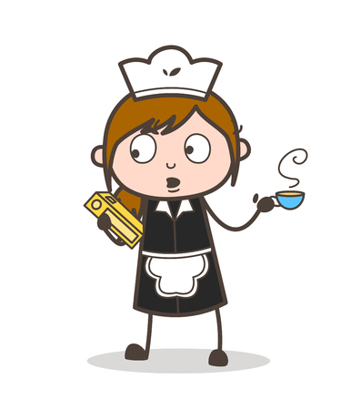 Cartoon Female Assistant with Book and Coffee Vector Illustration