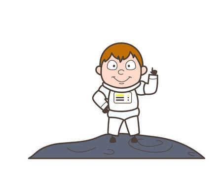 Cartoon Astronaut Got an Idea Vector Illustration