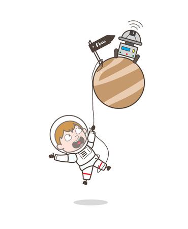 Cartoon Astronaut Fall-Down and Hanging on Mars Planet Vector Concept Ilustração
