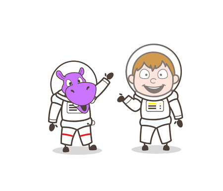 Cartoon Male and Animal Cosmonaut Characters Vector