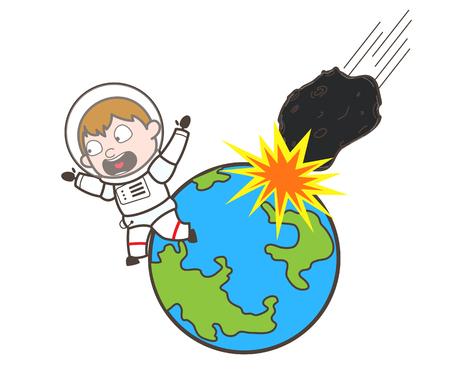 Cartoon Astronaut Running Away from Asteroid Falling on Earth Vector Illustration