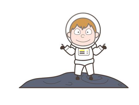 Cartoon Astronaut Behavior Vector Illustration